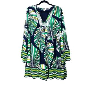 CROWN & IVY Green Stripe Palm Leaf Shift Dress XL